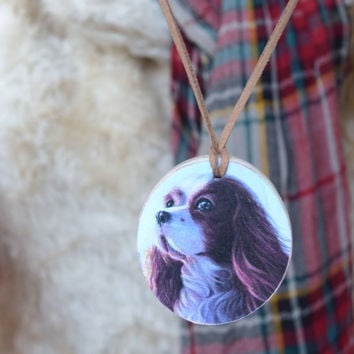 Dog pendant necklace Wood dog jewelry Pet lover gift Your pet photo Personalized dog jewellery Animal jewelry Puppy Memory gift Rustic