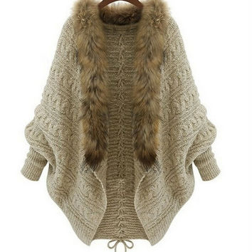 Autumn and winter women's new bat sleeve loose big yards shawl knit cardigan sweater Nagymaros collar jacket (Color: Light beige) = 1958199300
