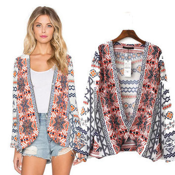 Women Blouse Digital Print Long Sleeve Kimono Coat Ladies Summer Beach Wear Sun Protective Cover Up for Bikini Swimwear