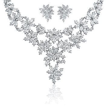 Prom Collar Statement Necklace Earring Set Wedding Marquise CZ
