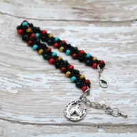 Horse And Horseshoe Charm, Western Multi Color Beaded Bracelet