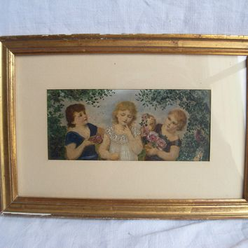 ANTIQUE FRENCH OIL PAINTING ON PAPER,CHILDREN PATTERN,EARLY 20th CENTURY,.