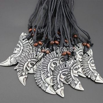 12pcs Imitation Yak Bone Carved Tribal Indian Chief Head Pendant Necklace for men women's jewelry YN194