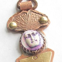 Spirit doll muse talisman amulet of mixed metal by metal_artistry