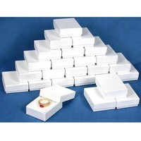 25 White Swirl Cotton Charm Jewelry Boxes Gift Display 2 1/8""
