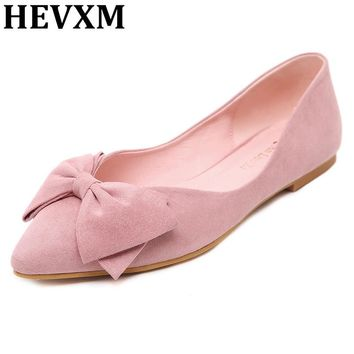 HEVXM Korean Lady Ballet Flats 2017 Sweet Bow Pointy Toe Women's Flats Solid Flock Ballerina Flat Shoes Plus Size Woman Shoes 43