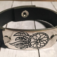 Black Leather Cuff, Stamped Leather Cuff, Dreamcatcher Bracelet, Hippie Bracelet, Gypsy Cuff, Boho Cuff, Western Cuff, Boho Hippie,Boho Chic