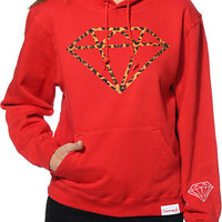Diamond Supply Co. Women's Leopard Rock Red Pullover Hoodie