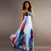 Summer Women Dresses Fashion Sexy Wrapped Sleeveless Open Shoulder Gathers Digital Print Chiffon Dress Maxi Evening Party Dress S-2XL