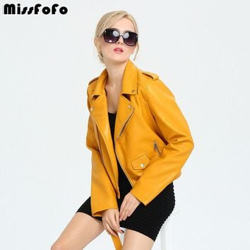 MissFoFo 2017 New Spring Fashion Women's PU Leather Jacket New Ladies Basic Jacket  Cool Outerwear Coat with Belt Hot Sale S-XL