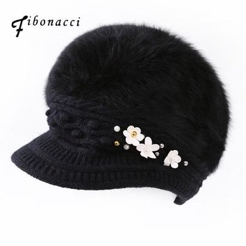 Fibonacci Rabbit Fur Beret Women Knitting Hat Brim Pearl Floral Winter Adult Berets