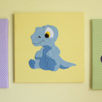 Set Of 3 Handmade Children's Felt Fabric Baby Dinosaur Canvas Pictures Wall Art Wall Hangings Decor