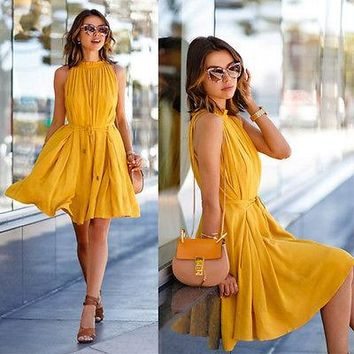 *online exclusive* sleeveless chiffon mini fit and flare dress