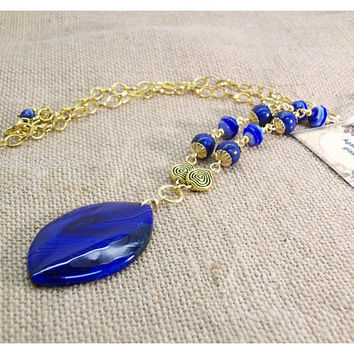 Blue agate gemstone pendant necklace with lapis, glass beads, Long blue necklace, semiprecious stone, long gold necklace with blue agate