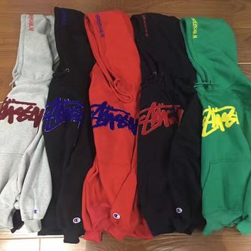 """Fashion """"Stussy"""" Print Hooded Pullover Tops Sweater Sweatshirts"""