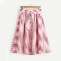 Red Pleated Striped Midi Skirt High Waist Women Buttoned Front Cute Summer Skirts