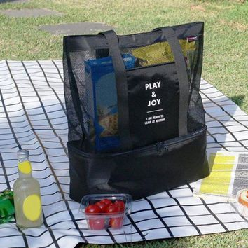 Fashion  Bag Insulated Cooler Picnic Bags Mesh Beach Tote Bag Food Drink Carry Bags