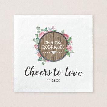Rustic Country Wood Floral Chic Wedding Napkin