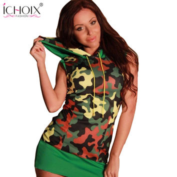 ICHOIX Vintage Multi Color Dress 2017 Summer Dress Military Camouflage Robe Sexy Mini Dress Pencil Bodycon Casual Slim Dresses
