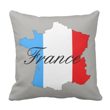 Map of France in Red White and Blue Throw Pillow