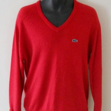 Izod Lacoste Sweater Mens V Neck Mens Preppy Sweater 80s Preppy Clothing Red Sweater M