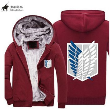 Cool Attack on Titan Winter  Luminous Thick Zipper Hoodie no  Hooded Sweatshirt Plus size HipHop Streetwear coat 071207 AT_90_11
