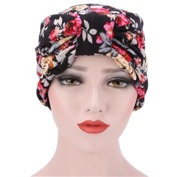 Muslim Hat Women Bowknot Flower Printed Ruffle Cancer Chemo Hat Beanie Turban Head Wrap Cap High Quality Fitted Hat