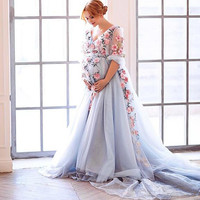 Blue Organza Pregnant Evening Dresses Custom Made Floral Embroidered  Formal Party Dress 2017 New Couture Plus Size Prom Gowns