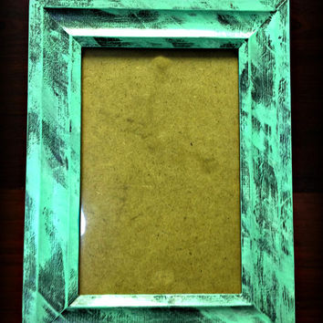 Hand Painted Mint, Tiffany Blue, & Gray Wooden Picture Frame