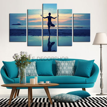 CANVAS ART  - Large Wall Art Canvas Print Yoga and Women on the Beach | Ready to Hang  | 5 Panels Canvas | Stretched on Deep