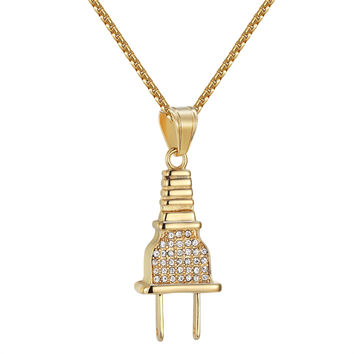 Switch Plug Socket Pendant Iced Out Gold Tone Stainless Steel Lab Diamonds Chain