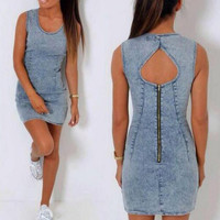 Round Neck Sleeveless Bodycon Denim Dress