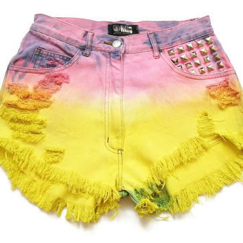 Dip dyed high waist shorts M by deathdiscolovesyou on Etsy