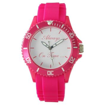"Cute pink ""Always on Time"" Wrist Watch"