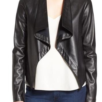'Peppin' Drape Front Faux Leather Jacket