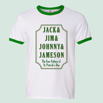Jack, Jim, Johnny & Jameson St Patrick's Day Ringer Tee