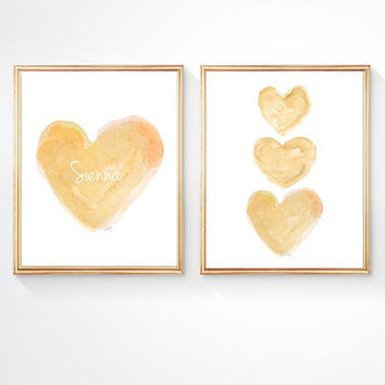 Gold Nursery Art,  Set 2 - 8x10 Watercolor Prints, Gender Neutral Nursery, Natural Nursery Art, Yellow Nursery Art, Gold Nursery Decor
