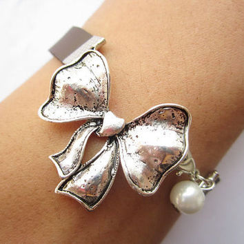 antique silver butterfly tie Bracelet---butterfly tie and white bead bracelet&brown leather chain