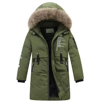 New Kids Boy Children Down Jackets Long Thicken Warm Winter Jacket Big Fur Collar Hooded Jacket Coat