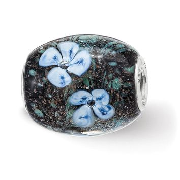 Fenton Sterling Silver Hand Painted Hydrangeas By Moonlight Glass Bead