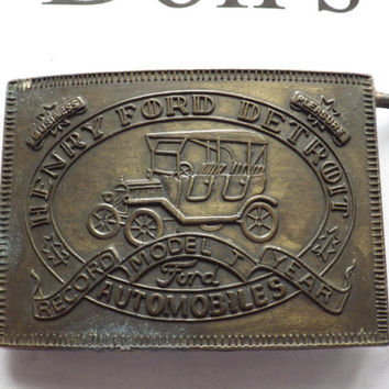 Henry Ford Detroit Automobiles Vintage Belt Buckle
