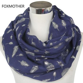 FOXMOTHER Free Shipping 2018 Europe Fashion Womens White Navy Pink Shiny Bronzing Silver Feather Infinity Scarves