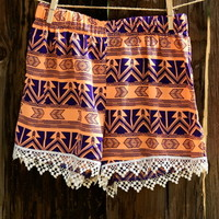 ORANGE/BLUE POM POM SHORTS