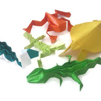 Reptile Party Origami Animals Lizard Frog Snake Turtle Alligator Reptile Decor