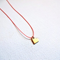 Micro Gold Heart and Silk Cord Necklace; Modern Deconstructed Mixed Media Jewelry; Gold Vermeil Heart Charm Necklace; Unique Love Necklace