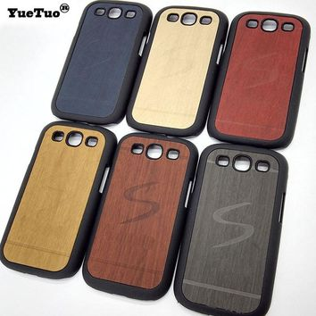 YueTuo original luxury hard case for samsung galaxy s3 s 3 i9300 mobile phone cover shell by wood back gold black wooden cases