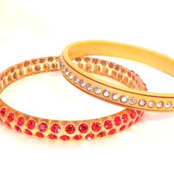 Vintage Celluloid Lucite Rhinestone Bangle Bracelets