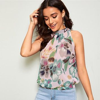 Keyhole Sleeveless Floral Blouse Women Clothes Casual Stand Collar Blouse Womens Tops Blouses