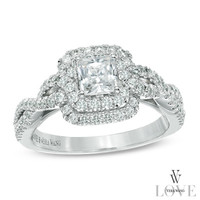 Vera Wang LOVE Collection 1 CT. T.W. Princess-Cut Diamond Double Frame Twist Ring in 14K White Gold