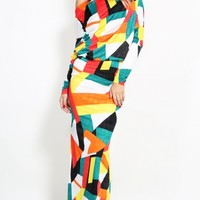 Colorblock Off Shoulder Maxi Dress | MakeMeChic.com